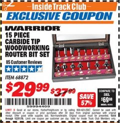 Harbor Freight ITC Coupon 15 PIECE CARBIDE TIP WOODWORKING ROUTER BIT SET Lot No. 68872 Expired: 12/31/18 - $29.99