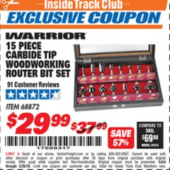 Harbor Freight ITC Coupon 15 PIECE CARBIDE TIP WOODWORKING ROUTER BIT SET Lot No. 68872 Expired: 2/28/19 - $29.99