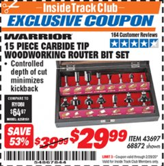 Harbor Freight ITC Coupon 15 PIECE CARBIDE TIP WOODWORKING ROUTER BIT SET Lot No. 68872 Valid: 2/1/20 - 2/29/20 - $29.99