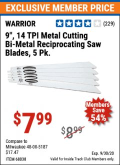 "Harbor Freight ITC Coupon 9"" 14 TPI METAL CUTTING BI-METAL RECIPROCATING SAW BLADES-  PACK OF 5 Lot No. 68949/62129/68038 Expired: 9/30/20 - $7.99"