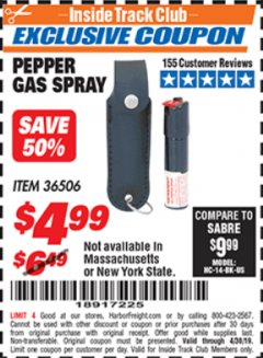 Harbor Freight ITC Coupon PEPPER GAS SPRAY Lot No. 36506 Expired: 4/30/19 - $4.99