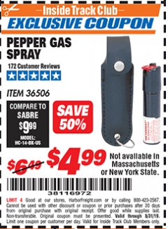 Harbor Freight ITC Coupon PEPPER GAS SPRAY Lot No. 36506 Expired: 8/31/19 - $4.99