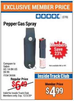 Harbor Freight ITC Coupon PEPPER GAS SPRAY Lot No. 36506 Valid Thru: 12/3/20 - $4.99