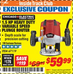 Harbor Freight ITC Coupon 1.5 HP HEAVY DUTY VARIABLE SPEED PLUNGE ROUTER Lot No. 67119 Dates Valid: 12/31/69 - 6/30/20 - $59.99