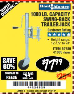 Harbor Freight Coupon 1000 LB. CAPACITY SWING-BACK TRAILER JACK Lot No. 41005/69780 Expired: 5/19/18 - $17.99