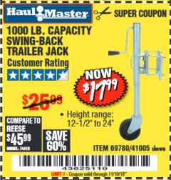 Harbor Freight Coupon 1000 LB. CAPACITY SWING-BACK TRAILER JACK Lot No. 41005/69780 Expired: 11/10/18 - $17.99