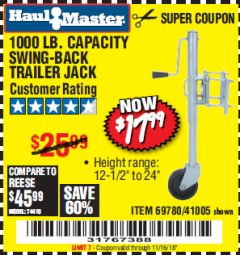 Harbor Freight Coupon 1000 LB. CAPACITY SWING-BACK TRAILER JACK Lot No. 41005/69780 Expired: 11/16/18 - $17.99