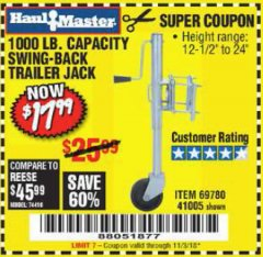 Harbor Freight Coupon 1000 LB. CAPACITY SWING-BACK TRAILER JACK Lot No. 41005/69780 Expired: 11/3/18 - $17.99