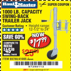 Harbor Freight Coupon 1000 LB. CAPACITY SWING-BACK TRAILER JACK Lot No. 41005/69780 Expired: 4/1/19 - $17.99