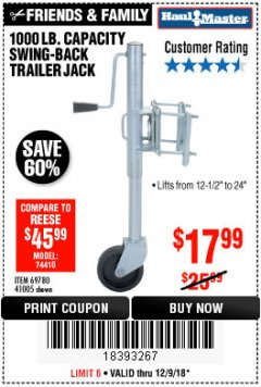 Harbor Freight Coupon 1000 LB. CAPACITY SWING-BACK TRAILER JACK Lot No. 41005/69780 Expired: 12/9/18 - $17.99