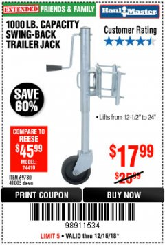 Harbor Freight Coupon 1000 LB. CAPACITY SWING-BACK TRAILER JACK Lot No. 41005/69780 Expired: 12/16/18 - $17.99