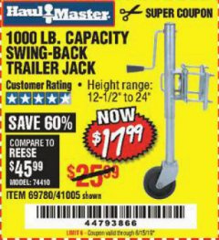 Harbor Freight Coupon 1000 LB. CAPACITY SWING-BACK TRAILER JACK Lot No. 41005/69780 Expired: 6/15/19 - $17.99