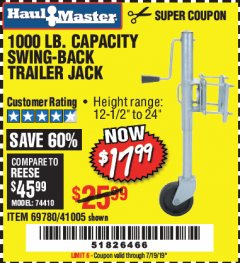 Harbor Freight Coupon 1000 LB. CAPACITY SWING-BACK TRAILER JACK Lot No. 41005/69780 Expired: 7/19/19 - $17.99