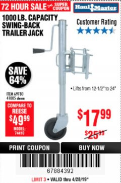 Harbor Freight Coupon 1000 LB. CAPACITY SWING-BACK TRAILER JACK Lot No. 41005/69780 Expired: 4/28/19 - $17.99