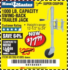 Harbor Freight Coupon 1000 LB. CAPACITY SWING-BACK TRAILER JACK Lot No. 41005/69780 Expired: 6/23/19 - $17.99