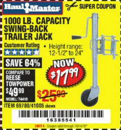Harbor Freight Coupon 1000 LB. CAPACITY SWING-BACK TRAILER JACK Lot No. 41005/69780 Expired: 10/14/19 - $17.99