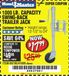 Harbor Freight Coupon 1000 LB. CAPACITY SWING-BACK TRAILER JACK Lot No. 41005/69780 Expired: 10/27/19 - $17.99
