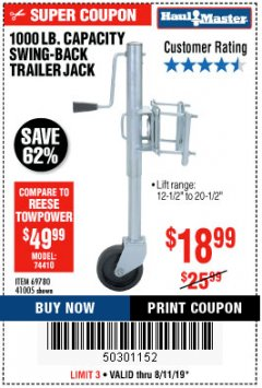 Harbor Freight Coupon 1000 LB. CAPACITY SWING-BACK TRAILER JACK Lot No. 41005/69780 Expired: 8/11/19 - $18.99