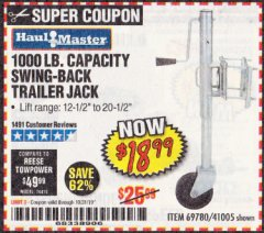 Harbor Freight Coupon 1000 LB. CAPACITY SWING-BACK TRAILER JACK Lot No. 41005/69780 Expired: 10/31/19 - $18.99