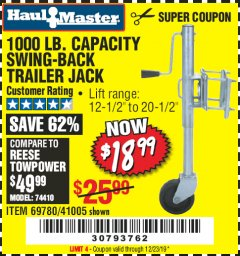 Harbor Freight Coupon 1000 LB. CAPACITY SWING-BACK TRAILER JACK Lot No. 41005/69780 Expired: 12/23/19 - $18.99