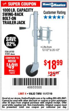 Harbor Freight Coupon 1000 LB. CAPACITY SWING-BACK TRAILER JACK Lot No. 41005/69780 Expired: 11/17/19 - $18.99