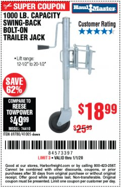 Harbor Freight Coupon 1000 LB. CAPACITY SWING-BACK TRAILER JACK Lot No. 41005/69780 Expired: 1/1/20 - $18.99
