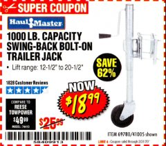 Harbor Freight Coupon 1000 LB. CAPACITY SWING-BACK TRAILER JACK Lot No. 41005/69780 Expired: 3/31/20 - $18.99