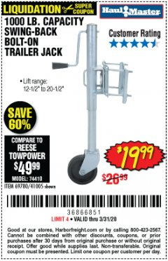 Harbor Freight Coupon 1000 LB. CAPACITY SWING-BACK TRAILER JACK Lot No. 41005/69780 Expired: 3/31/20 - $19.99