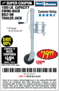 Harbor Freight Coupon 1000 LB. CAPACITY SWING-BACK TRAILER JACK Lot No. 41005/69780 Expired: 4/5/20 - $19.99