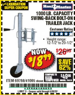 Harbor Freight Coupon 1000 LB. CAPACITY SWING-BACK TRAILER JACK Lot No. 41005/69780 Valid Thru: 5/30/20 - $18.99
