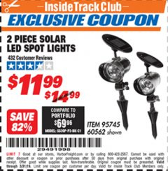 Harbor Freight ITC Coupon 2 PIECE SOLAR LED SPOT LIGHTS Lot No. 60562 Expired: 3/31/19 - $11.99