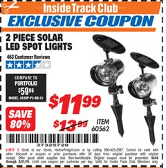 Harbor Freight ITC Coupon 2 PIECE SOLAR LED SPOT LIGHTS Lot No. 60562 Expired: 8/31/19 - $11.99
