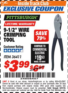 "Harbor Freight ITC Coupon 9-1/2"" WIRE CRIMPING TOOL Lot No. 36411 Expired: 8/31/18 - $3.99"