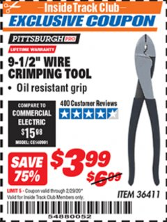 "Harbor Freight ITC Coupon 9-1/2"" WIRE CRIMPING TOOL Lot No. 36411 Expired: 2/29/20 - $3.99"