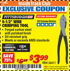 "Harbor Freight ITC Coupon 9-1/2"" WIRE CRIMPING TOOL Lot No. 36411 Expired: 6/30/20 - $3.99"