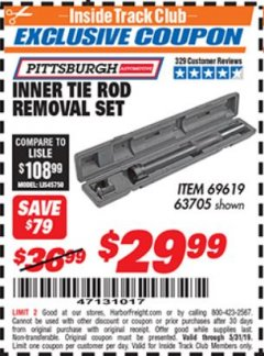 Harbor Freight ITC Coupon INNER TIE ROD REMOVAL SET Lot No. 63705 Expired: 5/31/19 - $29.99