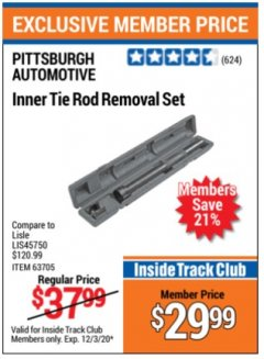 Harbor Freight Coupon INNER TIE ROD REMOVAL SET Lot No. 63705 Expired: 12/3/20 - $29.99