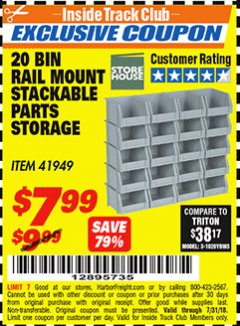 Harbor Freight ITC Coupon 20 BIN RAIL MOUNT STACKABLE PARTS STORAGE Lot No. 41949 Expired: 7/31/18 - $7.99