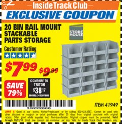 Harbor Freight ITC Coupon 20 BIN RAIL MOUNT STACKABLE PARTS STORAGE Lot No. 41949 Expired: 10/31/18 - $7.99