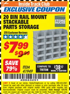 Harbor Freight ITC Coupon 20 BIN RAIL MOUNT STACKABLE PARTS STORAGE Lot No. 41949 Expired: 1/31/19 - $7.99
