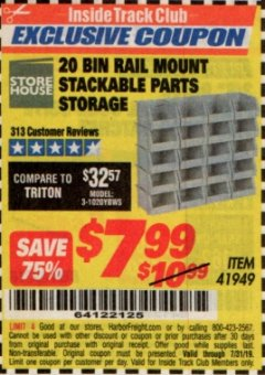 Harbor Freight ITC Coupon 20 BIN RAIL MOUNT STACKABLE PARTS STORAGE Lot No. 41949 Expired: 7/31/19 - $7.99