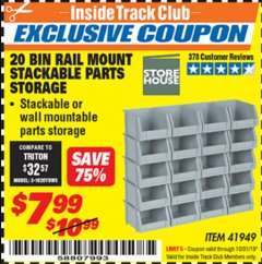 Harbor Freight ITC Coupon 20 BIN RAIL MOUNT STACKABLE PARTS STORAGE Lot No. 41949 Expired: 10/31/19 - $7.99