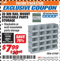 Harbor Freight ITC Coupon 20 BIN RAIL MOUNT STACKABLE PARTS STORAGE Lot No. 41949 Expired: 1/31/20 - $7.99