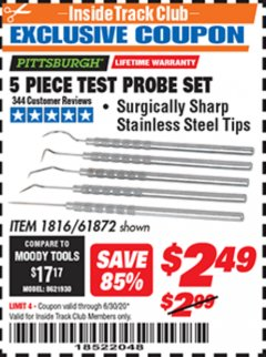 Harbor Freight ITC Coupon 5 PIECE TEST PROBE SET Lot No. 61872/1816 Dates Valid: 12/31/69 - 6/30/20 - $2.49