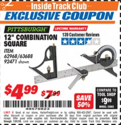 "Harbor Freight ITC Coupon 12"" COMBINATION SQUARE Lot No. 62968/92471 Expired: 1/31/19 - $4.99"