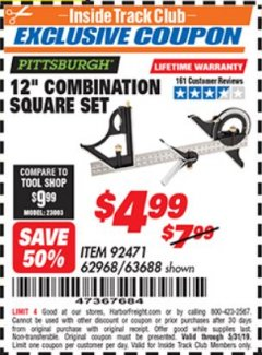 "Harbor Freight ITC Coupon 12"" COMBINATION SQUARE Lot No. 62968/92471 Expired: 5/31/19 - $4.99"