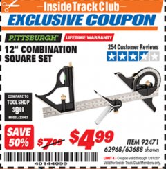 "Harbor Freight ITC Coupon 12"" COMBINATION SQUARE Lot No. 62968/92471 Expired: 1/31/20 - $4.99"
