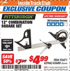 "Harbor Freight ITC Coupon 12"" COMBINATION SQUARE Lot No. 62968/92471 Valid Thru: 3/31/20 - $4.99"