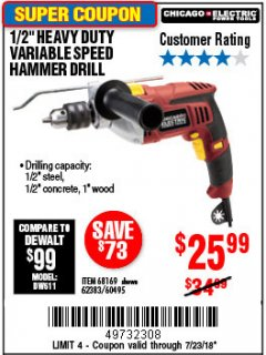 "Harbor Freight Coupon 1/2"" PROFESSIONAL VARIABLE SPEED REVERSIBLE HAMMER DRILL Lot No. 68169/67616/60495/62383 Expired: 7/23/18 - $25.99"