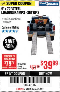 Harbor Freight Coupon 1000 LB. STEEL LOADING RAMPS, SET OF TWO Lot No. 44649 Expired: 5/31/19 - $39.99
